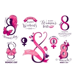 Set 8 march womens day wishes template badges vector