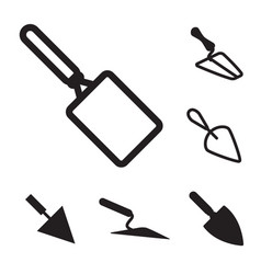 Trowel icon set isolated vector