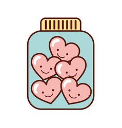 mason jar bottle with hearts kawaii character vector image