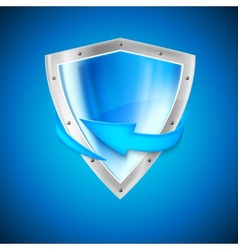 Blue shield with arrow vector image