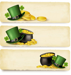 Three saint patricks day banners with lover leaves vector
