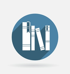 Spines of books circle blue icon with shadow vector