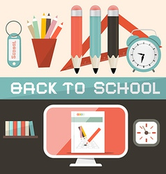 Back to school in retro flat design style vector