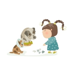 Little girl punishing dogs vector
