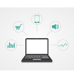 Digital marketing laptop with sample icons vector
