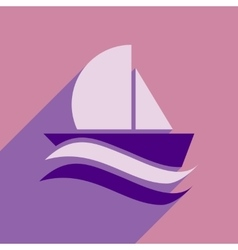 Flat icon with long shadow boat sailboat vector
