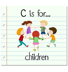 Flashcard letter c is for children vector