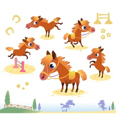 Set of bay horses vector