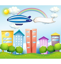 An aircraft with an empty banner at the back vector image vector image