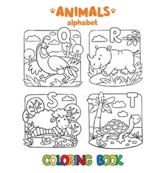 Animals alphabet or abc coloring book vector
