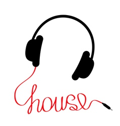 Black headphones with red cordshape of word house vector