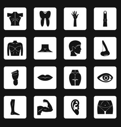 Body parts icons set squares vector