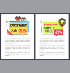 Christmas sale 20 off promo posters with discount vector
