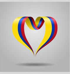 Colombian flag heart-shaped ribbon vector