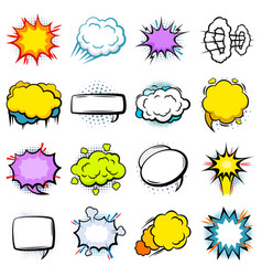 Comic colorful explosion speech bubbles set vector