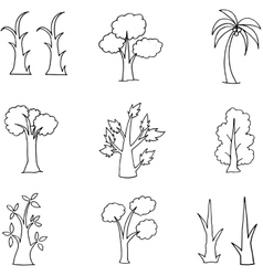 Doodle of hand draw tree set vector