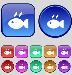 Fish dish icon sign a set of twelve vintage vector