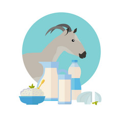 goat icon with milk products dairy set vector image