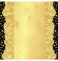 Golden frame with curly waves vector
