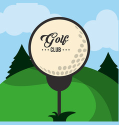 Golf club ball on tee landscape vector