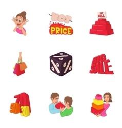 Hot sales icons set cartoon style vector