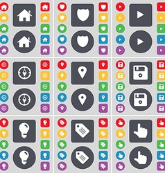 House badge media play compass checkpoint floppy vector
