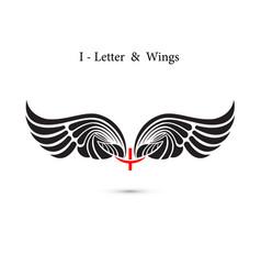 i-letter sign and angel wingsmonogram wing logo vector image