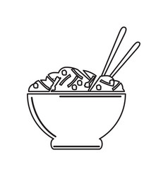 Isolated bowl of pasta outline vector