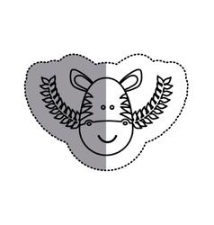 Monochrome contour sticker with zebra head and vector