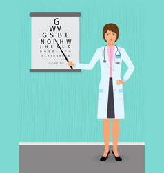 ophthalmologist point out to eyesight check table vector image