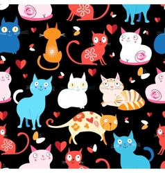 pattern of different cats vector image vector image