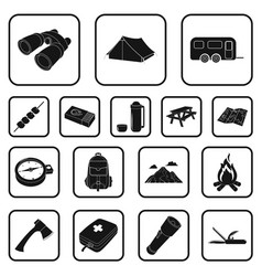 Rest in the camping black icons in set collection vector