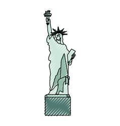 Scribble statue of liberty cartoon vector