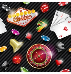 Seamless casino pattern with gambling elements vector