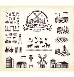 Set of happy farm organic production cartoon style vector