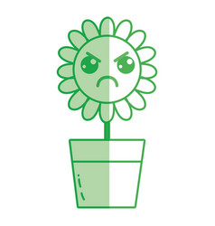 Silhouette kawaii beauty and angry flower plant vector