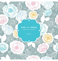Silver and colors florals frame seamless pattern vector image