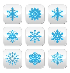 Snowflakes winter blue buttons set vector image