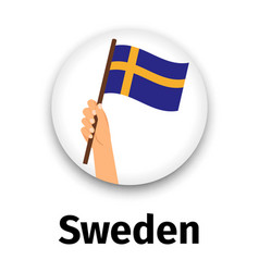 sweden flag in hand round icon vector image vector image