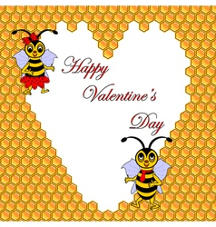 Two funny cartoon bees with a heart vector image vector image