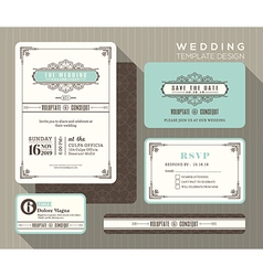 Vintage art deco wedding invitation set template vector