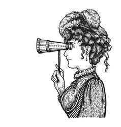 Vintage woman with binocular vector