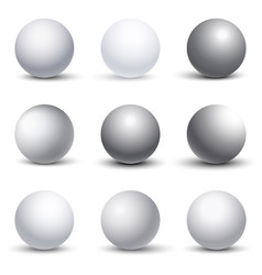 White 3d spheres with shadows set vector