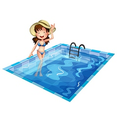 A girl wearing a swimsuit at the pool vector