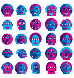 Set of bizarre creatures modern art colorful vector