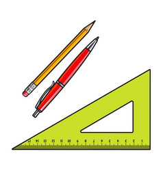 Simple hand drawn angle ruler pen and pencil vector