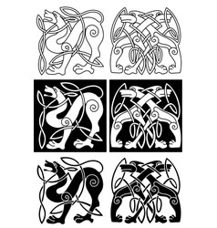 Wolves and dogs in celtic ornament vector