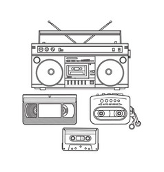 Retro audio cassette tape recorder music player vector