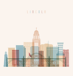 Lincoln state nebraska skyline detailed vector