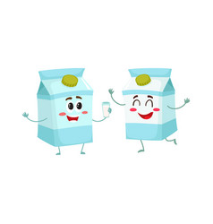 Two funny carton box character one offering milk vector